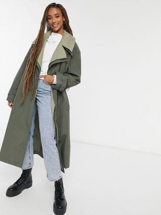 WOMEN double layered trench coat in green