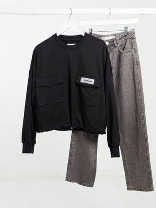 WOMEN Sixth June Plus cropped cargo sweatshirt with toggle waist in black