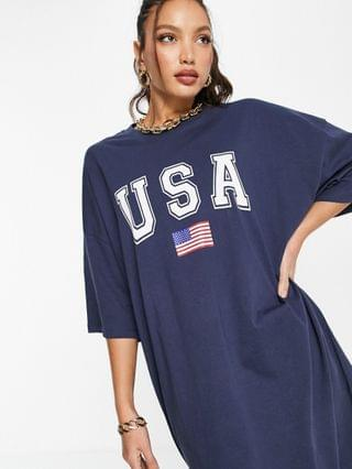 WOMEN Tall oversized t-shirt dress with usa logo in navy and white