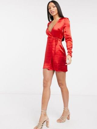 WOMEN Tall high shine satin mini wrap dress in red