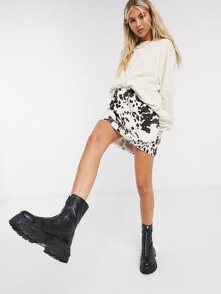 WOMEN Another Reason a-line mini skirt in cow print