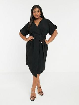 WOMEN Curve wrap midi dress in black