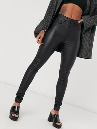 WOMEN Only Royal coated skinny jeans in black