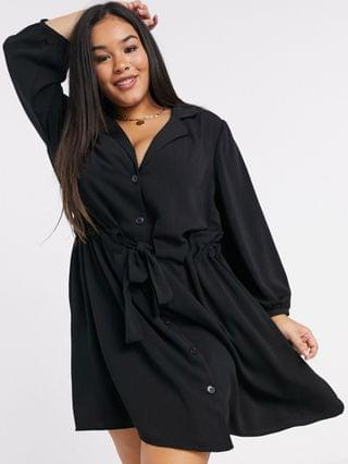 WOMEN Curve ruched waist button through mini dress in black