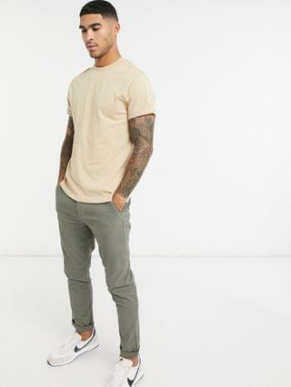 t-shirt with roll sleeve in beige