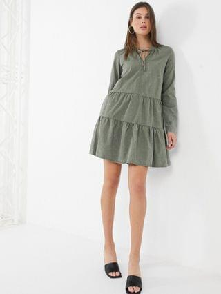 WOMEN Noisy May Tall tiered smock dress in washed khaki