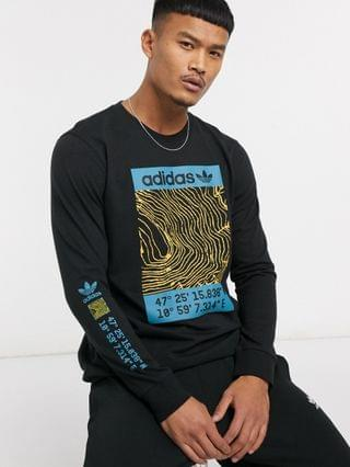 adidas Originals long sleeve t-shirt with adventure print in black