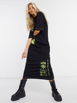 WOMEN New Girl Order oversized midi t-shirt dress with gothic graphic
