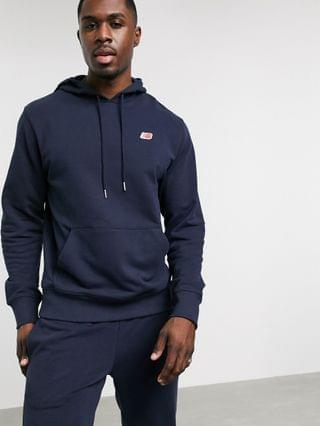 MEN New Balance small logo hoodie in navy