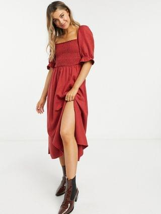 WOMEN New Look shirred square neck midi dress in rust