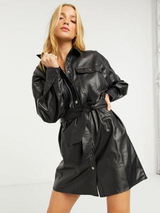 WOMEN leather-look button-through belted mini shirt dress in black