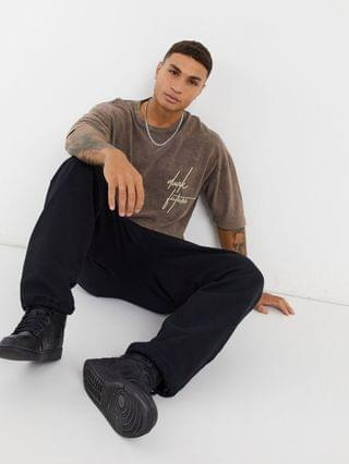 Dark Future oversized t-shirt in brown acid wash and embroidery detail in pique