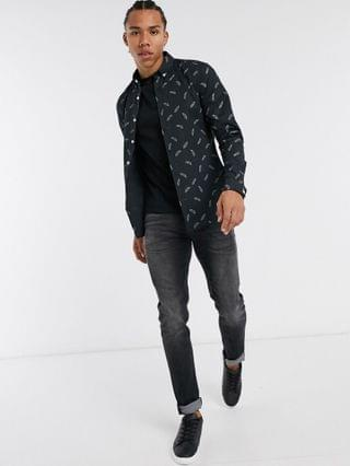 Tall slim fit all-over leaf print shirt in navy