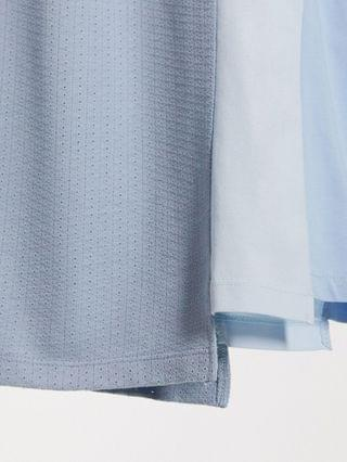 oversized t-shirt with half sleeve and spliced panels in light blue interest fabric