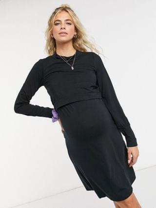 WOMEN Mamalicious Maternity mini dress with nursing function in black