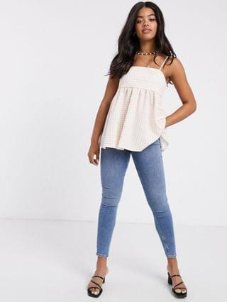 WOMEN textured cami top in check print