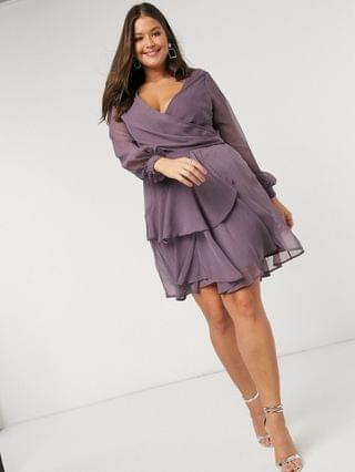 WOMEN Curve wrap waist mini dress with double layer skirt and long sleeve in Mauve
