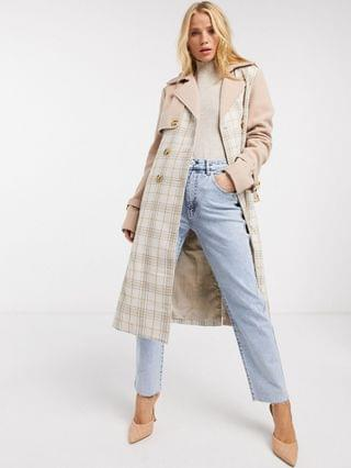 WOMEN Fashion Union trench coat in plaid