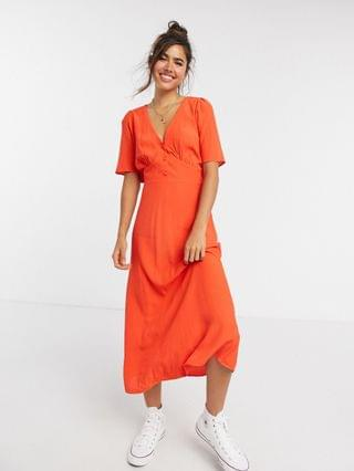 WOMEN New Look v neck flutter sleeve midi dress in bright orange