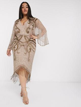 WOMEN Curve kimono midi dress with delicate beaded embellishment