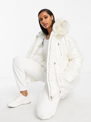 WOMEN Sixth June oversized vinyl puffer jacket with faux-fur hood