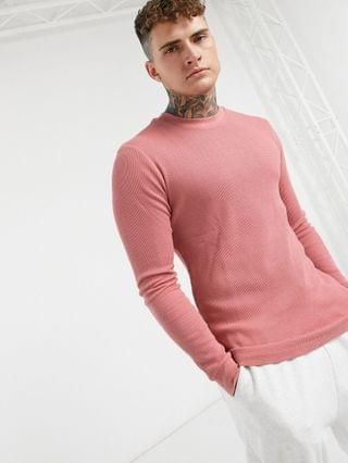 long sleeve muscle fit waffle t-shirt in old rose
