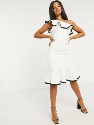 WOMEN Lipsy x Abbey Clancy one shoulder ruffle body-conscious dress with contrast trim in white