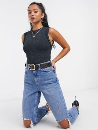 WOMEN Petite sleeveless t-shirt bodysuit with roll sleeve in washed black