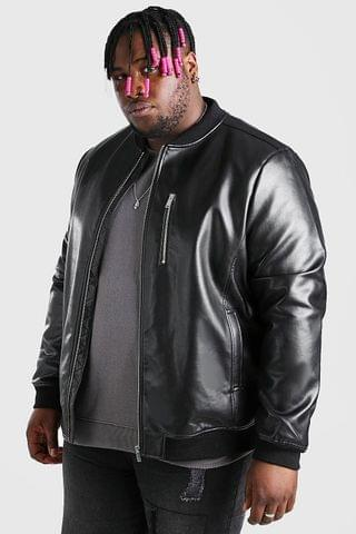 MEN Big And Tall Leather Look Bomber Jacket