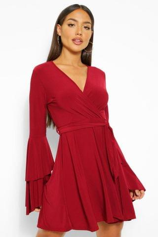 WOMEN Plunge Neck Flared Sleeve Skater Dress