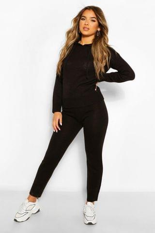 WOMEN Petite Knitted Hooded Jumper and Jogger Lounge Set