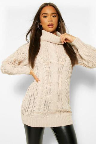 WOMEN Roll Neck Cable Knit Jumper Dress