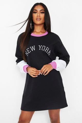 WOMEN New York Embroided Colour Block Sweat Dress