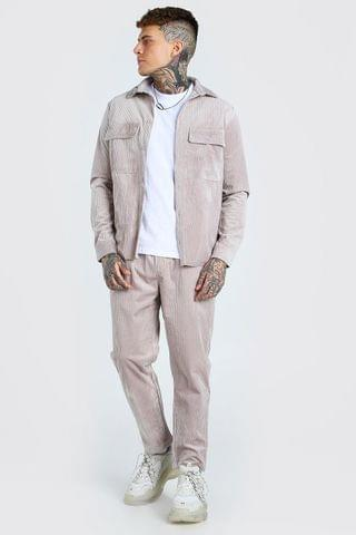 MEN Cord Utility Shirt And Trouser Set
