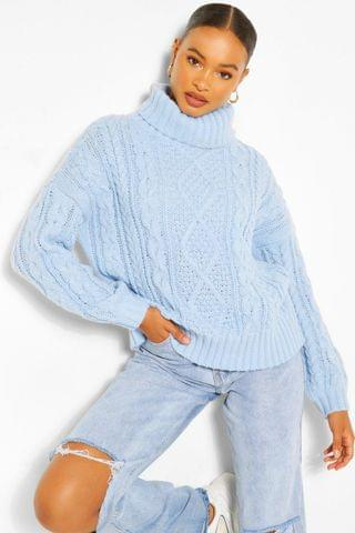WOMEN Roll Neck Cable Knit Jumper