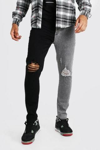MEN Skinny Stretch Contrast Jeans With Ripped Knees