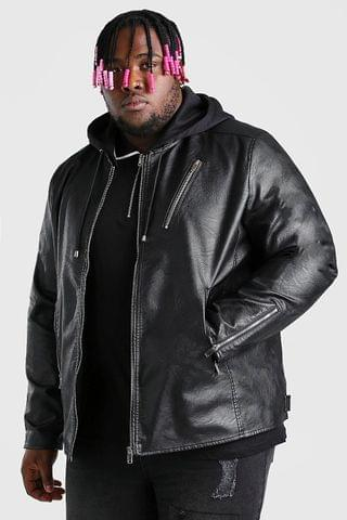 MEN Big And Tall Leather Look Biker With Hood