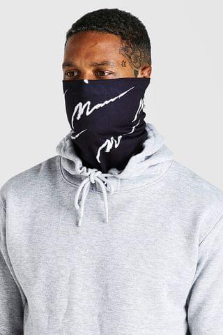 MEN MAN Script All Over Snood And Fashion Mask
