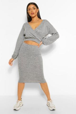 WOMEN Soft Rib Wrap Over Button Top and Midi Skirt