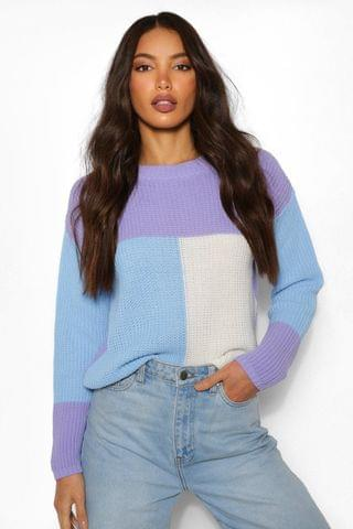 WOMEN Tall Colour Block Knitted Sweater