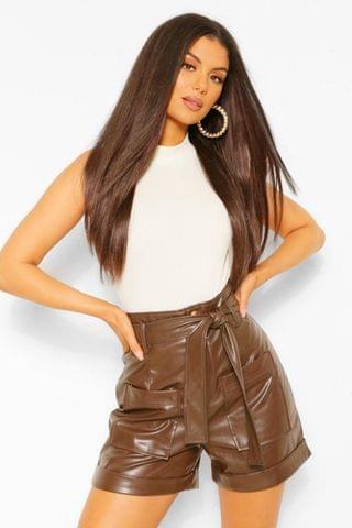 WOMEN Faux Leather Pu Pocket Front Belted Shorts