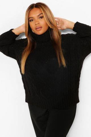 WOMEN Plus Roll Neck Cable Knit Jumper