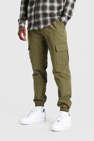 MEN Regular Fit Twill Cargo Trouser With Cuff