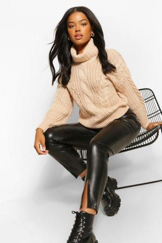 WOMEN Roll Neck Chunky Cable Knit Jumper