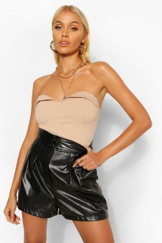 WOMEN PU Faux Leather Button Up Pleat Front Shorts