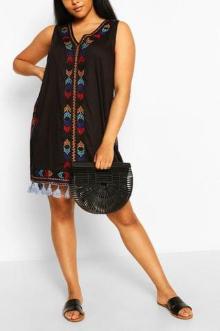 WOMEN Plus Embroidered Tassel Beach Dress