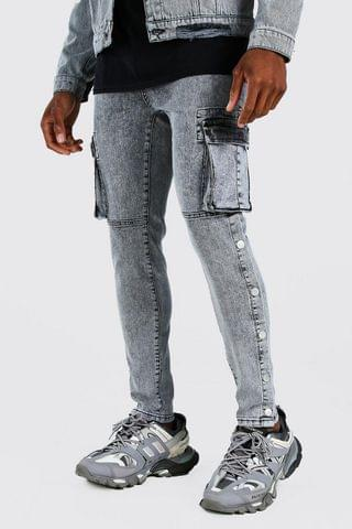 MEN Skinny Stretch Cargo Jean With Side Poppers