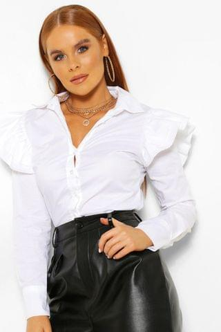 WOMEN Ruffle Shoulder White Shirt