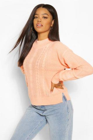 WOMEN Cable Knit High Neck Jumper