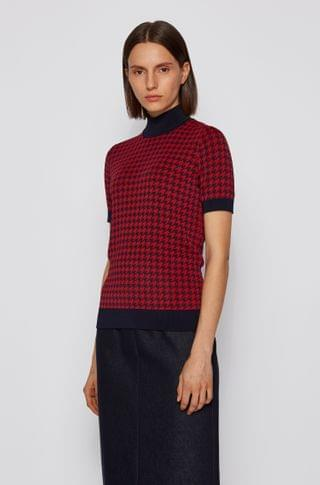 WOMEN Short-sleeved sweater in Italian houndstooth jacquard